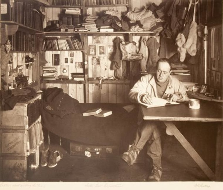 Robert Falcon Scott writes in his diary in the expedition's well-stocked hut three weeks before he set out for the pole.