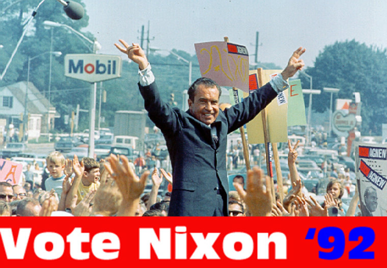 """NPR, in a prank that lasted only minutes in 1992, said Richard Nixon was running for president again. His slogan was: """"I didn't do anything wrong, and I won't do it again."""""""
