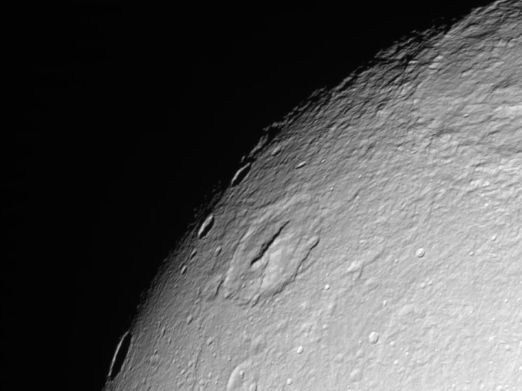 This rawimagefrom NASA's Cassini spacecraft was taken on Wednesday. The camera was pointing toward Saturn's moon Dione at about 49,087 miles (78,998 kilometers) away.