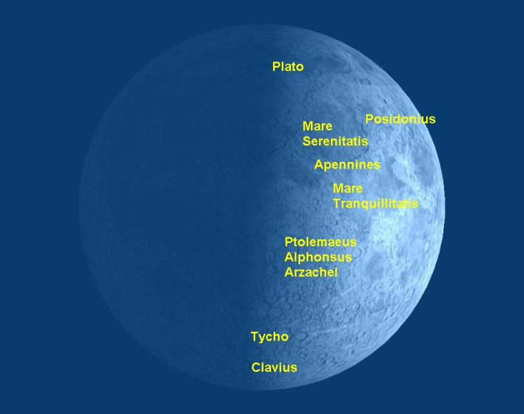 This moon map identifies some of the best targets on the moon to look for during its first-quarter phase in late March/early April 2012.