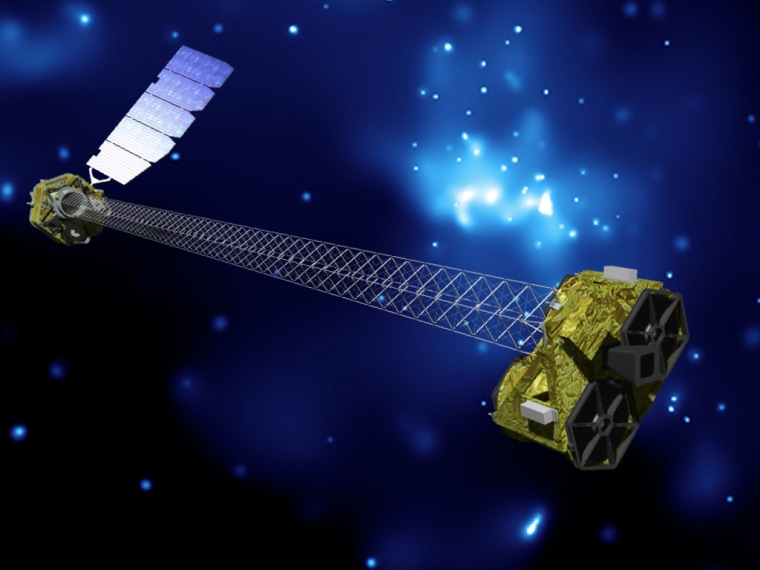 An artist's concept of NuSTAR on orbit. The mission's launch is slated for this spring, though no firm date has been set. NuSTAR has two identical optics modules in order to increase sensitivity. The background is an image of the galactic center obtained with the Chandra X-ray Observatory.