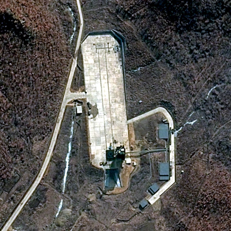 This DigitalGlobe 50-cm-resolution natural color image of the North Korean launch site at Tongchang-ri, in the northwest part of the country, was taken on March 28.DigitalGlobe imagery confirms a higher level of activity within the overall facility and significant activity at the launch pad specifically, ahead of a satellite launch planned between April 12 and April 16.