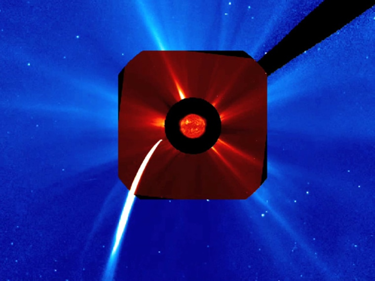 Comet Lovejoy skimmed across the sun's edge about 140,000 km above the surface late Dec. 15 and early Dec. 16, 2011, furiously brightening and vaporizing as it approached the sun. This SOHO spacecraft image shows the comet during that time.