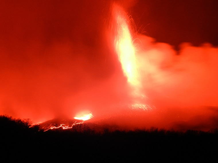 Mount Etna at the height of its latest magnificent display, on April 1.