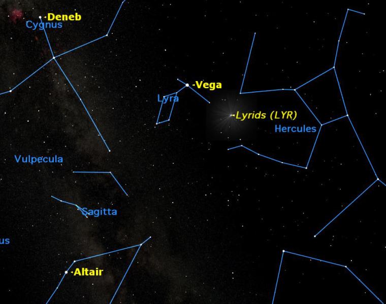 Lyrid meteor shower sky map for April 22.