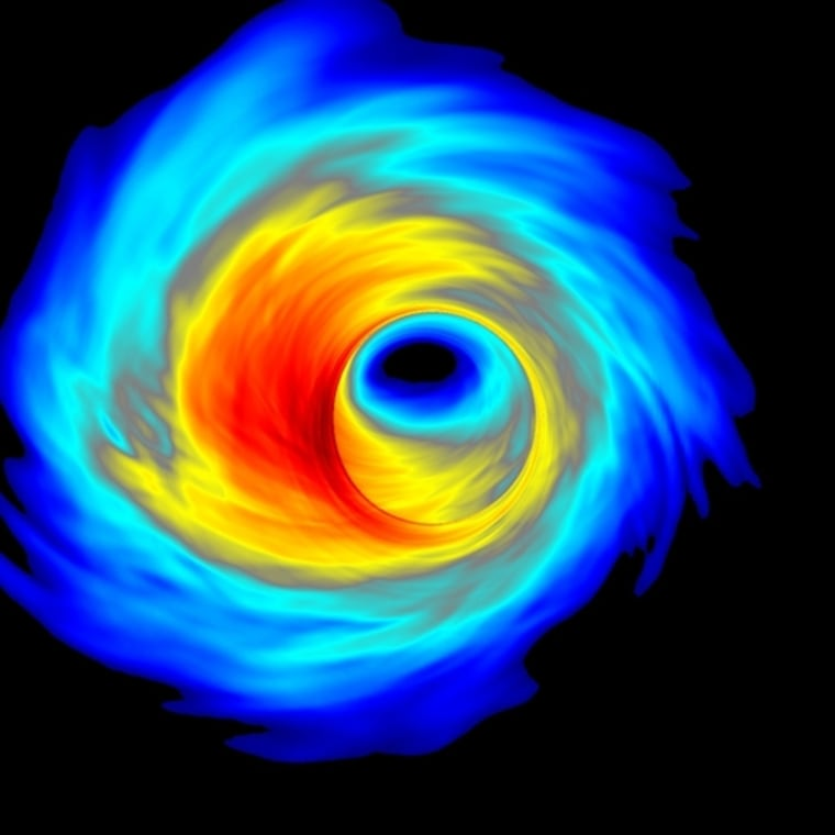 A simulation shows superheated plasma swirling around the black hole that is believed to be at the center of our galaxy.