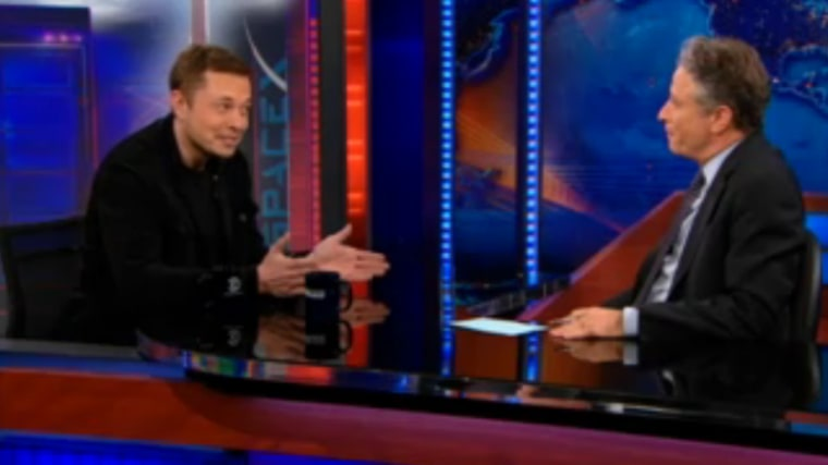 """SpaceXChief Executive OfficerElon Musk talks space with TV comedian Jon Stewart on Comedy Central's """"The Daily Show"""" on Tuesday."""