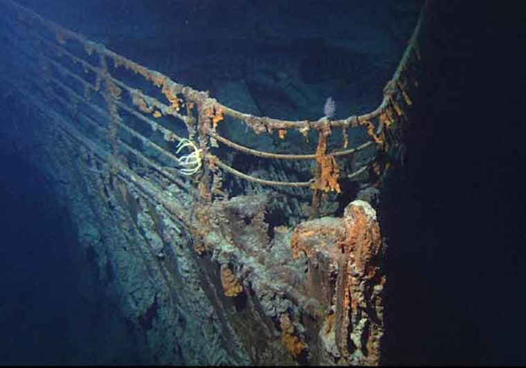 The bow of Titanic photographed in June 2004 by the ROV Hercules during an expedition returning to the shipwreck.