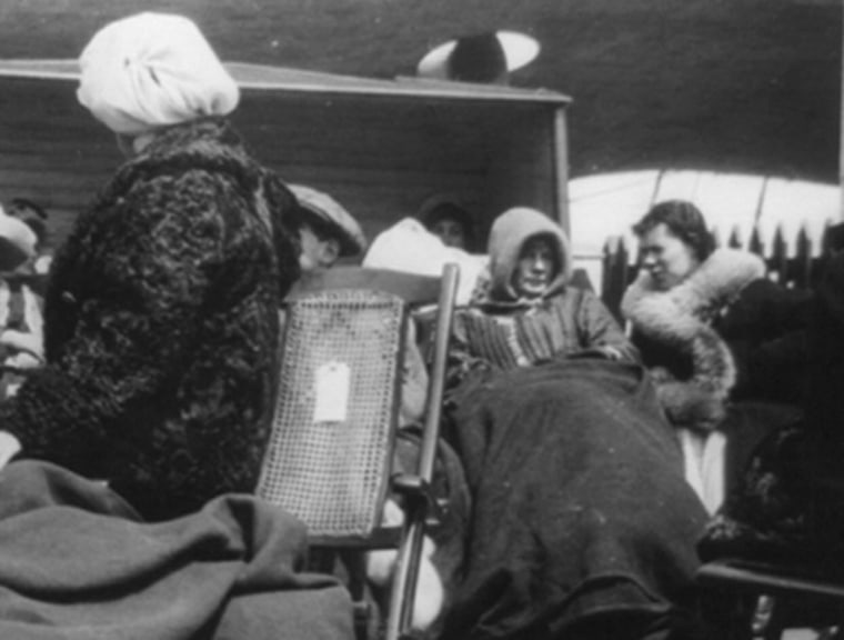 A group of female survivors of the Titanic disaster aboard the Carpathia after being rescued.