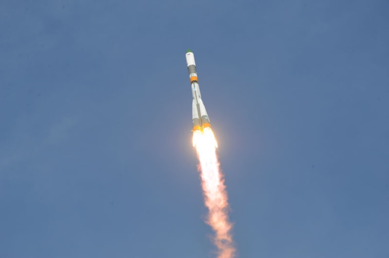 Image: A cargo transport is launched from the Baikonur Launch site.