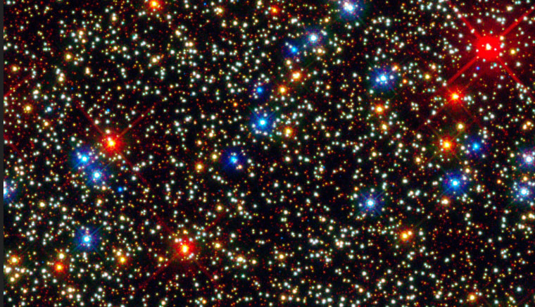 The tiny blue stars shown in the globular cluster of Omega Centauri can't be seen in distant galaxies, but new findings show they dominate in early ellipticals.