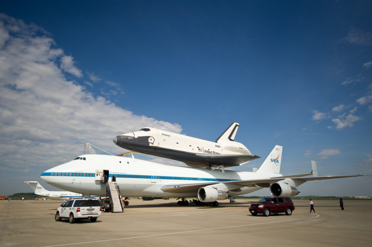 The space shuttleEnterpriseis seen mated on top of the NASA's Shuttle Carrier Aircraft (SCA), a modified Boeing 747 jumbo jet, at Washington Dulles International Airport nearly a week ago.