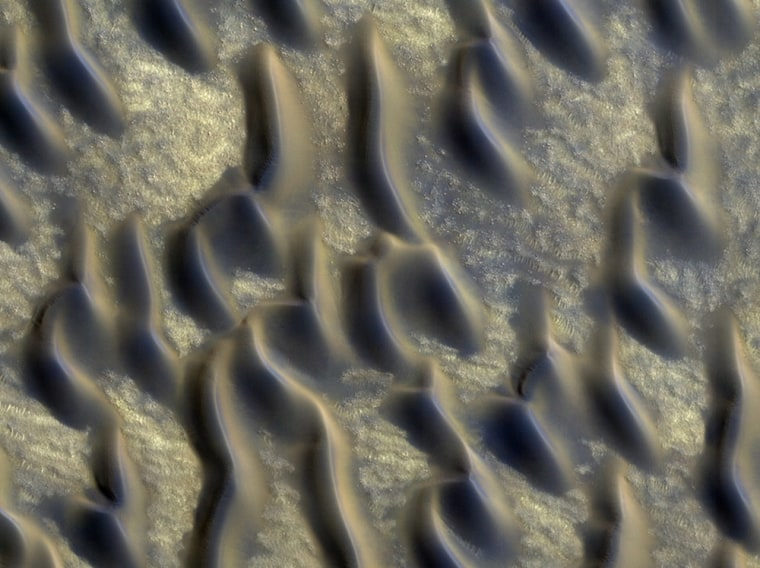 Dusty, glass-rich sand dunes like these found just south of the north polar ice cap could cover much of Mars. (False color image.)