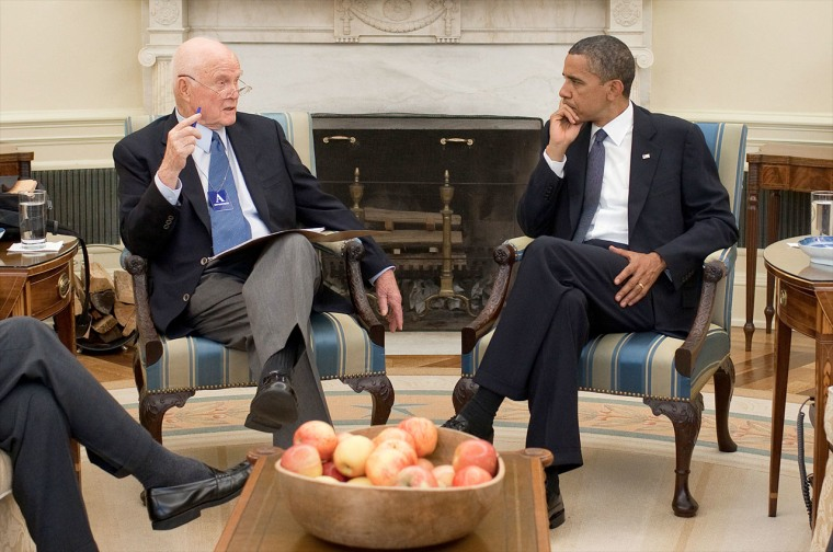 President Barack Obama meets with former Sen. John Glenn in the Oval Office at the White House in July 2010. Obama will award Glenn the Presidential Medal of Freedom.