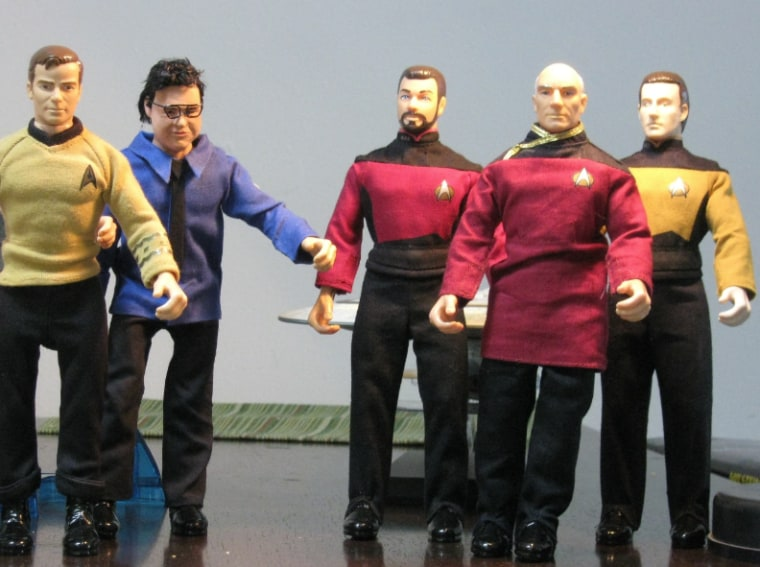"""These are some of the """"Star Trek"""" action figures scheduled to lift off for near-space in a high-altitude balloon on Saturday."""