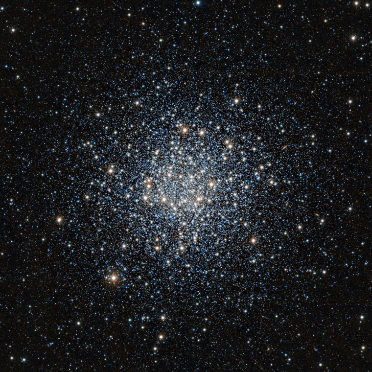 This photo the globular star cluster Messier 55 was taken by a European Southern Observatory telescope, and shows tens of thousands of stars swarming together.