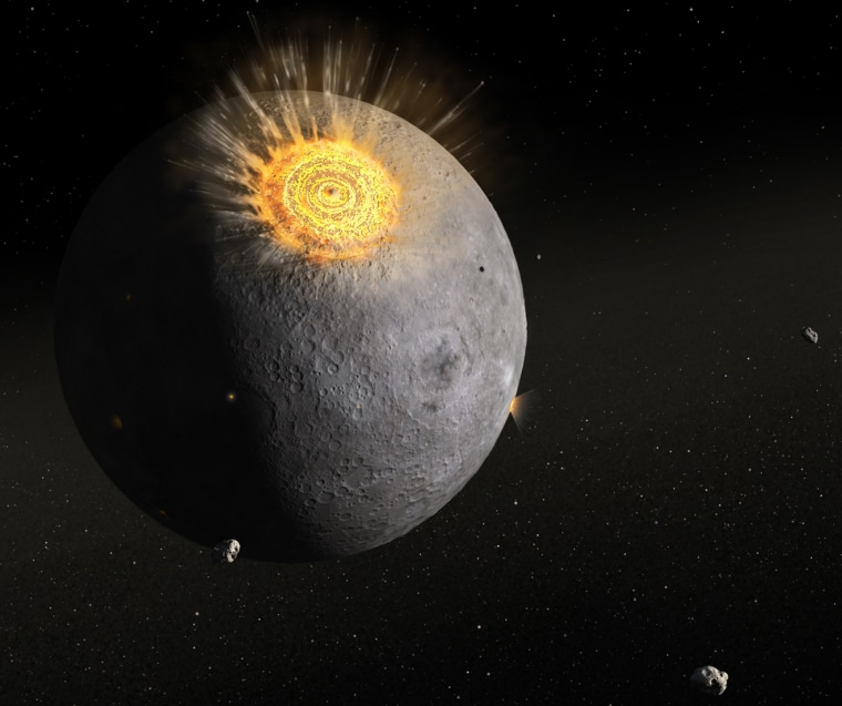 This artist's impression illustrates how the early moon (and Earth) were reshaped by an intense period of impact bombardment. Asteroids appear to be the dominant impactors.