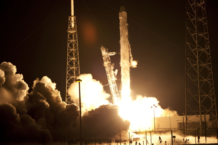 AtCape Canaveral Air Force Station in Florida, Space Launch Complex-40 is ablaze as the SpaceX Falcon 9 rocket lifts off on Tuesday.