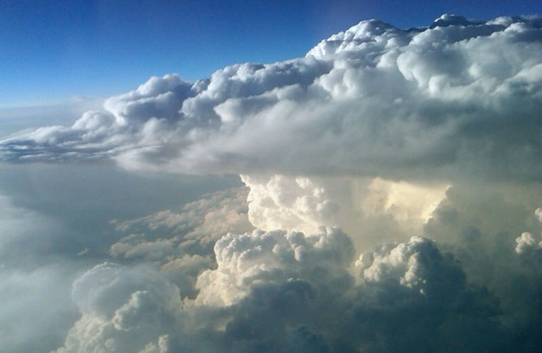 This huge thunderstorm supercell was photographed from NASA's DC-8 airborne science laboratory as it flew at an altitude of 40,000 feet southwest of Oklahoma City, Okla., during a DC3 mission flight May 19. The flight crew estimated the top of the thunderhead's anvil extended above 45,000 feet altitude.