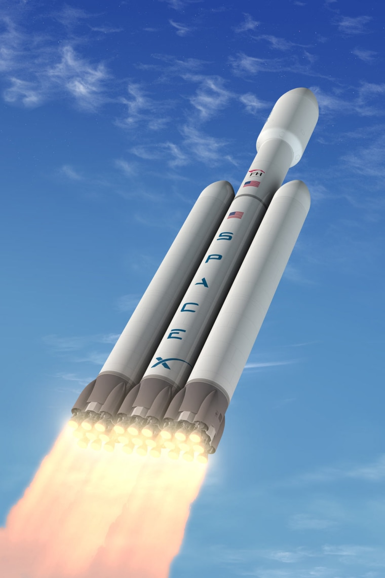 An illustration of SpaceX's Falcon Heavy rocket, which the company says will be the most capable rocket operating today.