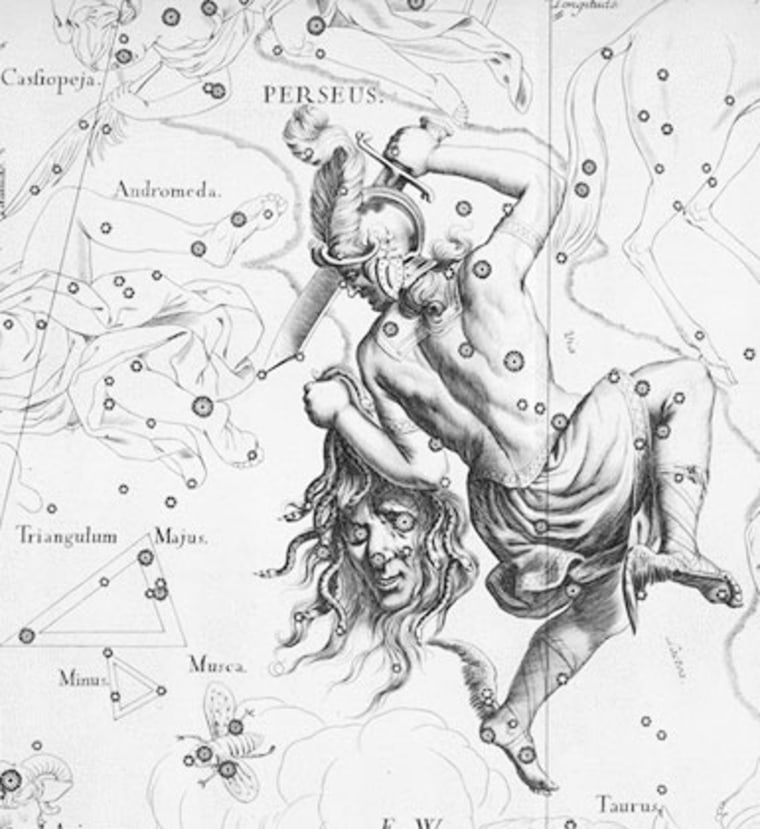"""The """"Demon Star"""" lies some 93 light-years away in the constellation Perseus as one of the eyes of Medusa's head. (Shown here in Johannes Hevelius' Perseus from Uranographia.)"""