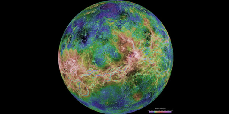 Magellan spacecraft radar data enabled scientists to penetrate Venus' thick clouds and create simulated views of the surface.