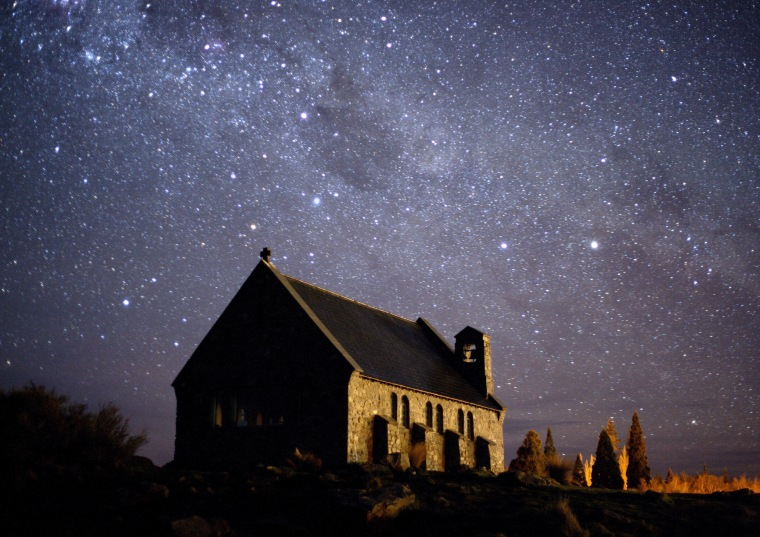 The New Zealand night sky, above the Church of the Good Shepherd on the South Island.