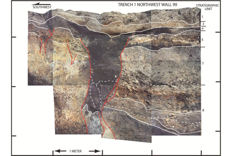 Photo-mosaic of the northwest wall of a trench across the San Andreas Fault in Mill Canyon near Watsonville, Calif. The photo shows contacts between layers of sediment (white lines) and fault traces (red lines). The dominant, dark gray-colored feature is a large fissure that formed as a result of faulting during an earthquake, most likely in 1838.