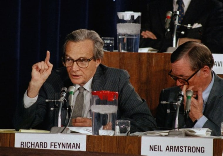 Richard P. Feynman makes a point during a panel investigation of the president's commission on the fatal explosion of the space shuttle Challenger in Washington, D.C., in 1986. He helped figure out the cause of the disaster.