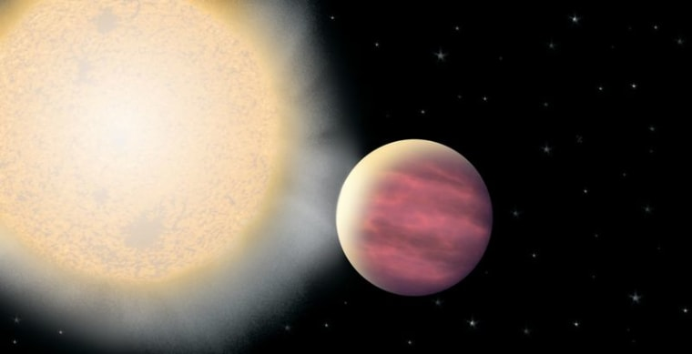 """This artist's rendering shows planet KELT-1b, which resides so close to its star that it completes a """"yearly"""" orbit in a mere 30 hours."""
