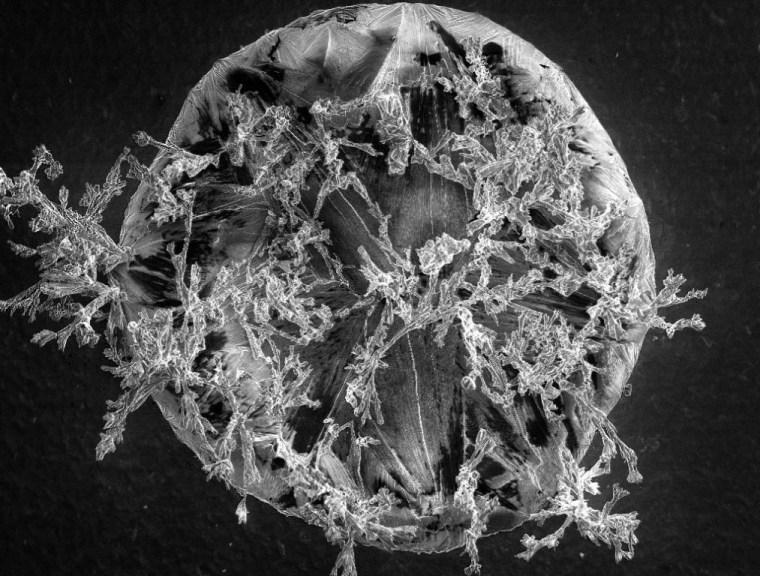 A grain of salt took first prize in Swansea University's 2012 Research as Art competition. This close-up look came from a laboratory study of the salts that form on jet turbines in midflight.