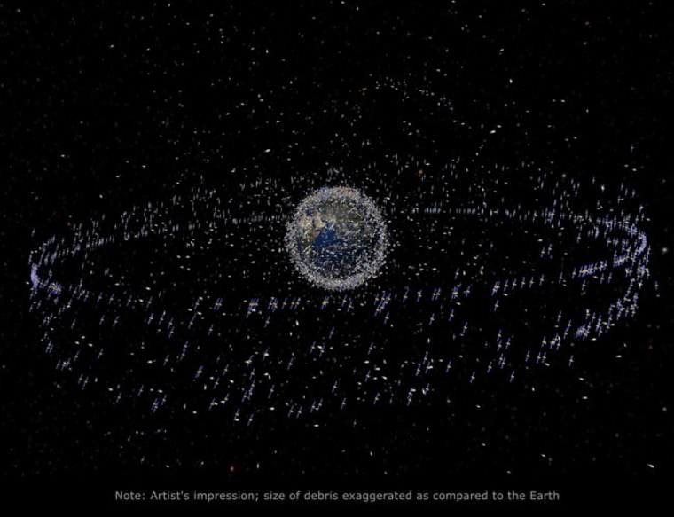This graphic depicts the trackable objects, satellites and space junk, in orbit around Earth.