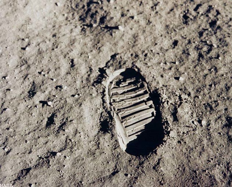 Apollo 11 astronaut Edwin Aldrin photographed this iconic photo, a view of his footprint in the lunar soil, as part of an experiment to study the nature of lunar dust and the effects of pressure on the surface during the historic first manned moon landing in July 1969.