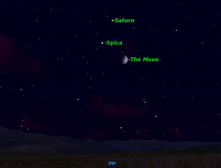 Saturn joins the bright star Spica and the first quarter moon on Wednesday.