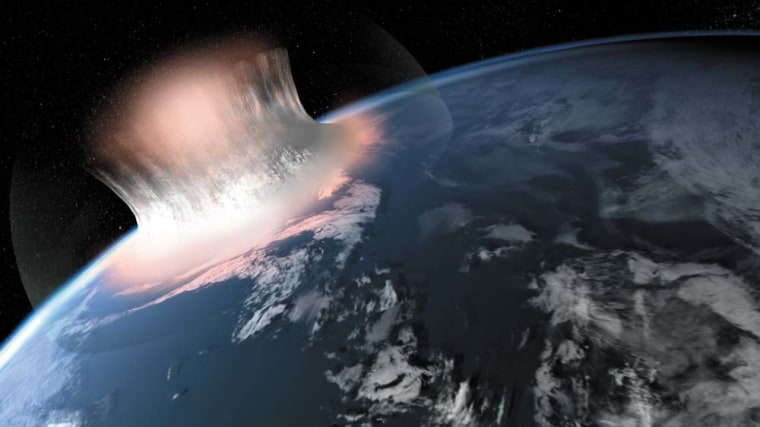 An artist's illustration of how a large meteorite impact in the sea might have looked in the first second of the impact. Scientists are unsure if the oldest meteorite crater on Earth, a 3 billion-year-old crater in West Greenland, was covered in water at the time.
