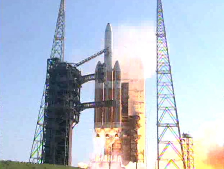 A ULA Delta 4 Heavy Rocket launches the NROL-15 spy satelliteFriday from Cape Canaveral, Fla.
