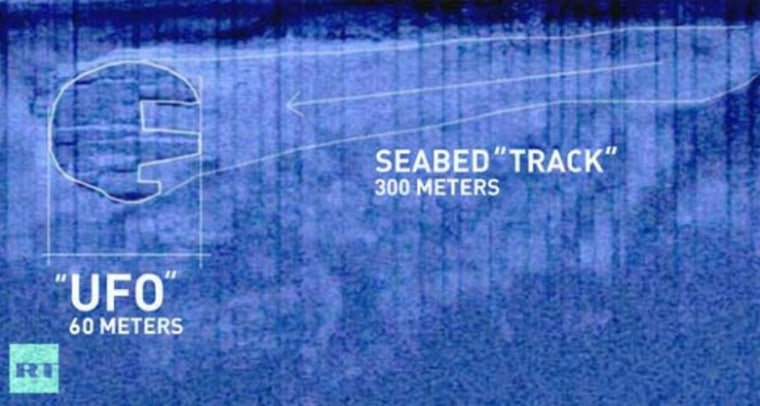 """Sonar image of the Baltic Sea """"UFO"""" and adjacent """"track"""" of cleared material. White outlines added by the Ocean X Team."""