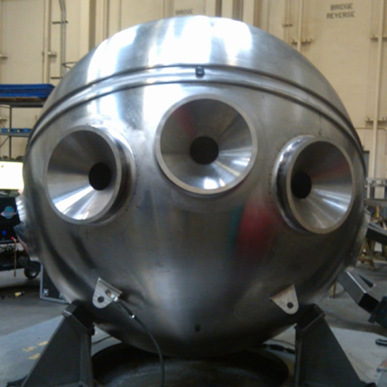 Space-age, but bound for the deep, Alvin's new personnel sphere has been tested and is ready to take on deep-sea pressure.