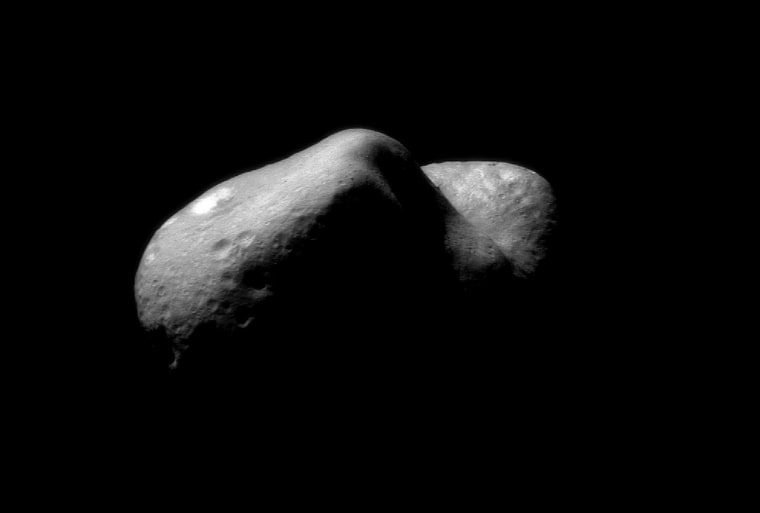 NASA's NEAR Shoemaker spacecraft image of near-Earth asteroid 433 Eros, taken in February 2000. The probe landed on the space rock a year later. Such objects are being eyed for their unique resources to help fuel a space economy.
