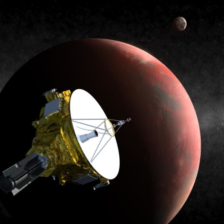 An artist's concept of the New Horizons spacecraft as it visits Pluto in 2015. Instruments will map Pluto and its moons, providing detail not only on the surface of the dwarf planet, but also about its shape, which could reveal whether or not an ocean lies beneath the ice.