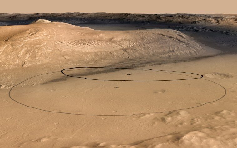 This image shows changes in the target landing area for Curiosity, the rover of NASA's Mars Science Laboratory project. The larger ellipse was the target area before early June, when the project revised it to the smaller ellipse centered nearer to the foot of Mount Sharp, inside Gale Crater.