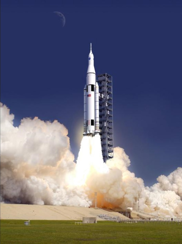 This artist's concept shows NASA's giant rocket, the Space Launch System, soaring off a launch pad at the Kennedy Space Center in Florida. The rocket is NASA's new booster for deep space missions to an asteroid and ultimately Mars.