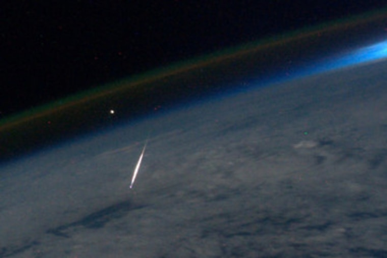 NASA astronaut Ron Garan took this photograph during the Perseid meteor shower on Aug. 13, 2011 from the International Space Station.