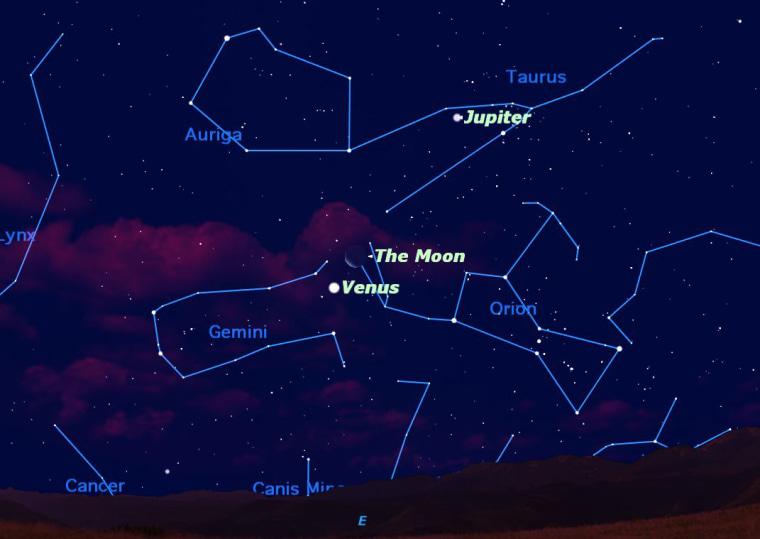 Image: Sky map showing crescent moon, Venus and Jupiter