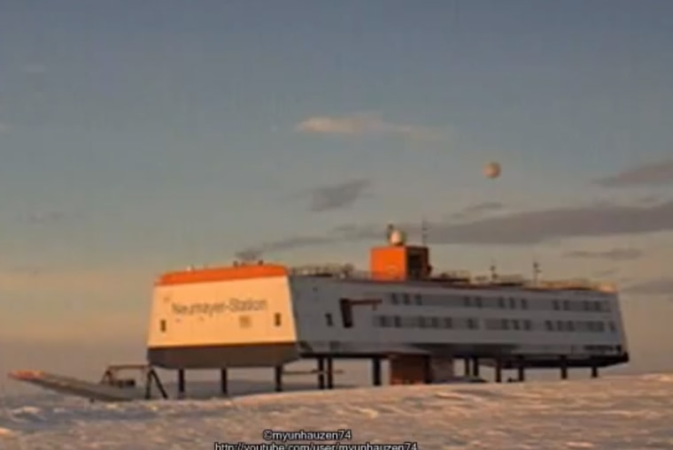 This YouTube screenshot reveals the blurry object floating above the Neumayer-Station III in Antarctica on Aug. 10. The object has garnered plenty of UFO claims.