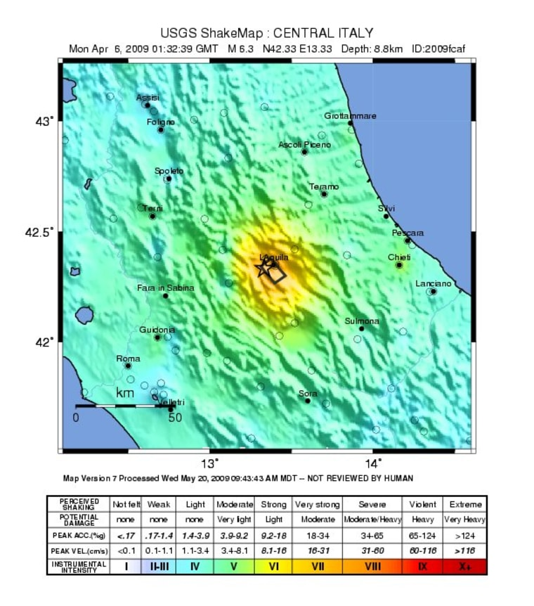 The shaking intensity of the magnitude-6.3 earthquake that struck L'Aquila, Italy on April 6, 2009.