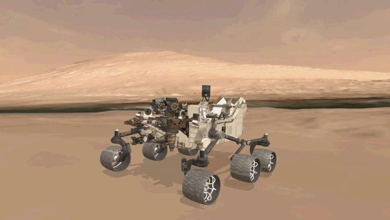 This animation shows the approximate true position of NASA's Curiosity rover on Mars. A 3-D virtual model of Curiosity is shown inside Gale Crater, near Mount Sharp, Curiosity's ultimate destination.