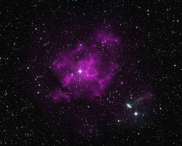 A pulsar found racing away from a supernova remnant about 30,000 light years from Earth.