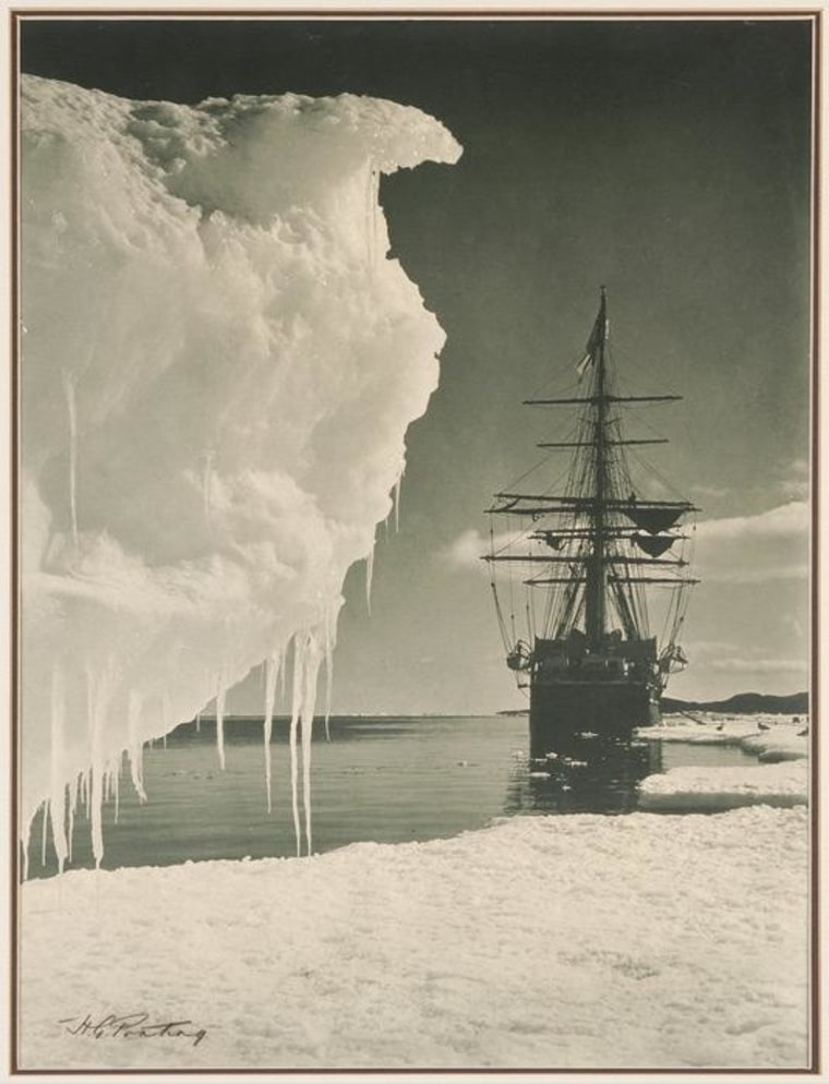 A photograph of the Terra Nova at anchor in Antarctica.