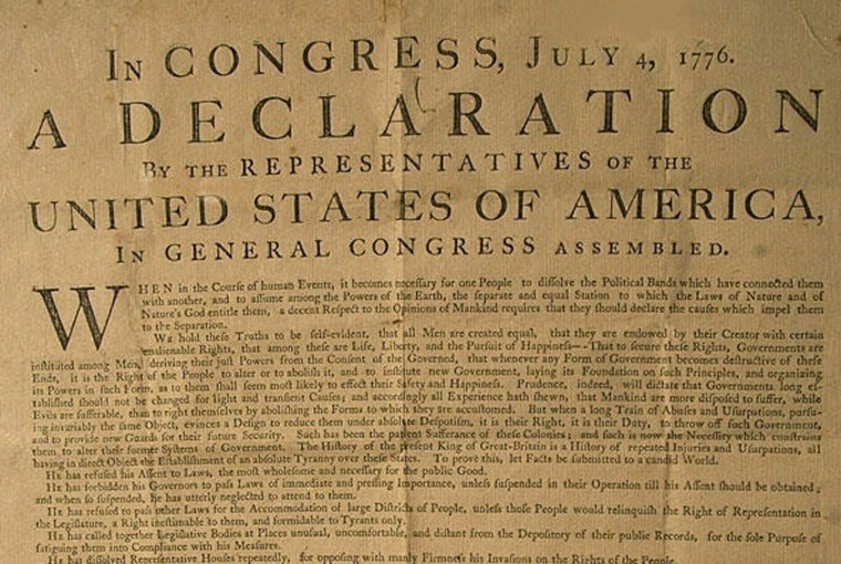"""Was the Declaration of Independence (a rare first printing of which is shown here) the first mention of the """"United States of America""""? Maybe not."""